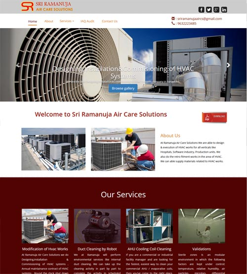 Website design - sraircare