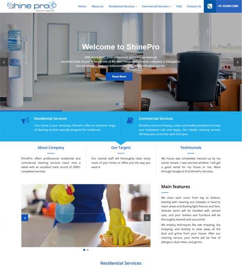 Website design - shineprofacilities